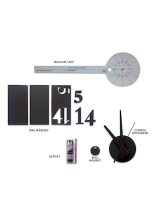 Designer Self Adhesive Innovative DIY (Do It Yourself) Analog Wall Clock - (Black) - 15438764 - Standard Image - 2