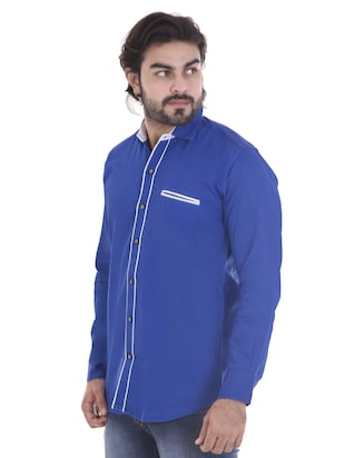 blue cotton casual shirt - 15439253 - Standard Image - 2