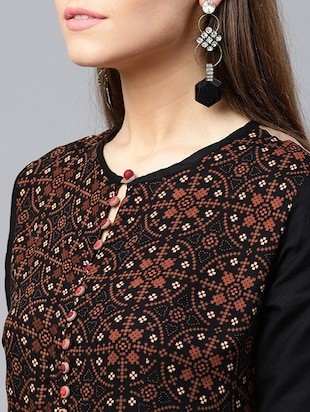 Printed flared ethnic dress - 15440579 - Standard Image - 5