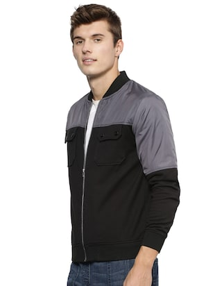 black cotton casual jacket - 15443872 - Standard Image - 2