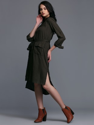 button down high-low belted dress - 15445178 - Standard Image - 2
