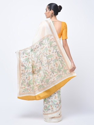 kalamkari printed beige saree with blouse - 15447757 - Standard Image - 2