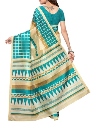 checkered printed saree with blouse - 15454137 - Standard Image - 2