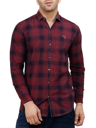 red cotton reversible casual shirt - 15455469 - Standard Image - 2