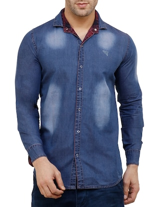 red cotton reversible casual shirt - 15455469 - Standard Image - 5