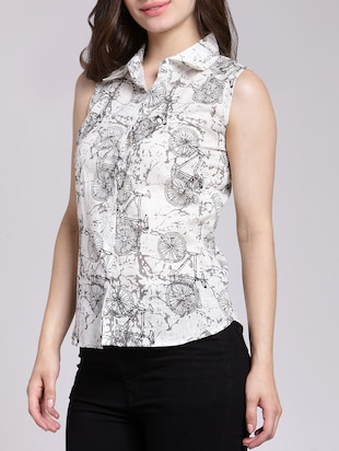 Cycle print button up shirt - 15457353 - Standard Image - 2