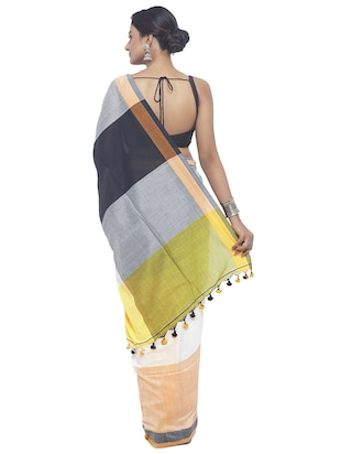 Organic Cotton handloom saree with blouse - 15458786 - Standard Image - 2