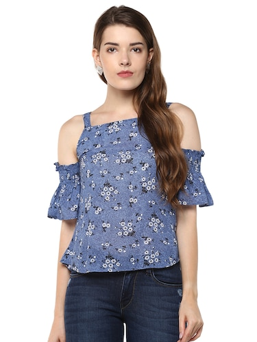 0aa7fc9ffb2ff Buy Gingham Check Cold Shoulder Cotton Top by Msfq - Online shopping for  Tops in India