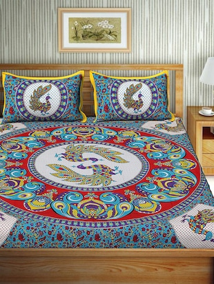 Cotton Traditional Printed Double Bedsheet With 2 Pillow Covers - 15460168 - Standard Image - 2