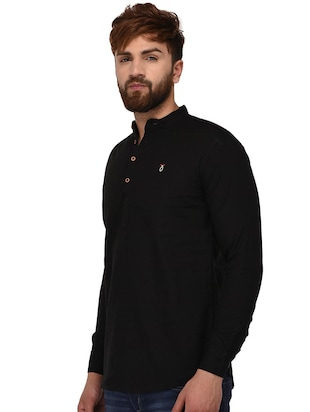 black cotton short kurta - 15468710 - Standard Image - 2