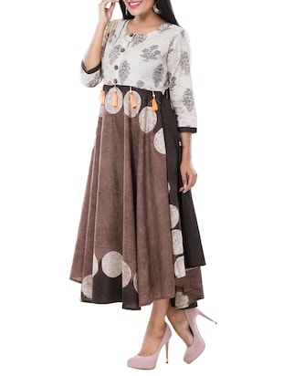 flared printed ethnic dress - 15469638 - Standard Image - 2