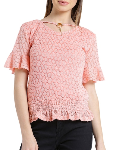 5be3d17af54867 Buy Umbrella Sleeves Round Neck Crop Top for Women from Hotberries ...