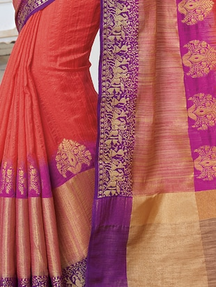contrast zari border woven saree with blouse - 15475293 - Standard Image - 2