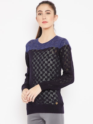 pointelle knit color block pullover - 15476447 - Standard Image - 2