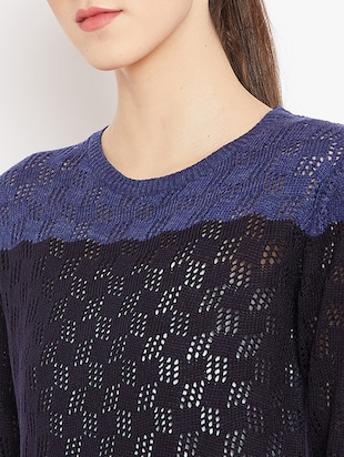 pointelle knit color block pullover - 15476447 - Standard Image - 5