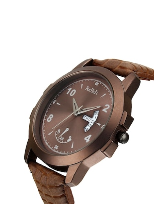 Relish Leather strap analog watch (RE-CB949DD) - 15481916 - Standard Image - 2