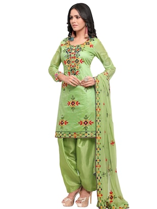 Embroidered unstitched salwar suit - 15484070 - Standard Image - 2