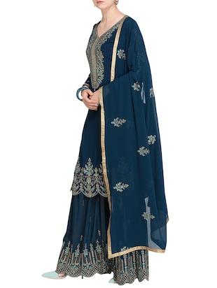 Contrast Floral embroidered sharara suit - 15485428 - Standard Image - 2