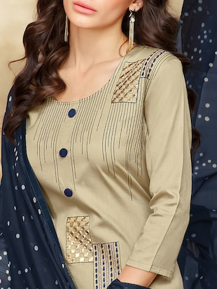 Embroidered unstitched churidaar suit - 15485861 - Standard Image - 2