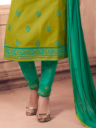 Embroidered unstitched straight pant suit - 15486279 - Standard Image - 2