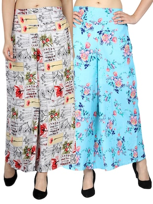 set of 2 printed flared palazzo - 15492109 - Standard Image - 11