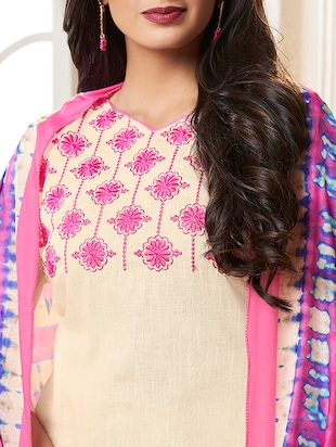 Embroidered unstitched churidaar suit - 15493174 - Standard Image - 2