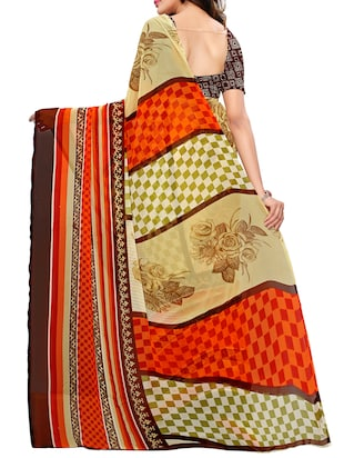Geometrical printed saree with blouse - 15494188 - Standard Image - 2