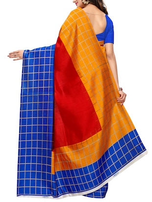 checkered bordered printed saree with blouse - 15494212 - Standard Image - 2