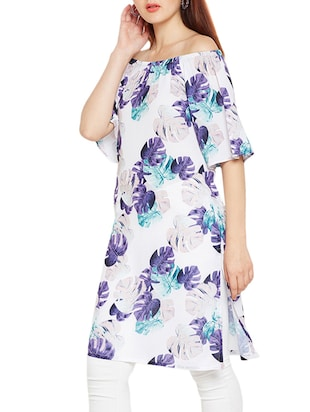 Off shoulder printed kurta - 15494255 - Standard Image - 2