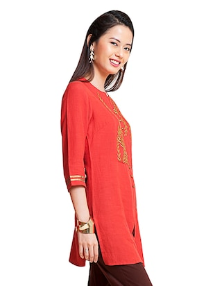 Embroidered a-line kurti - 15494738 - Standard Image - 2