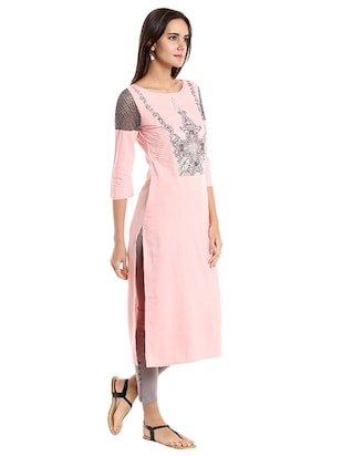 Straight embroidered kurta - 15494799 - Standard Image - 2