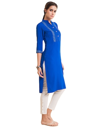 Straight pintucks kurta - 15494810 - Standard Image - 2