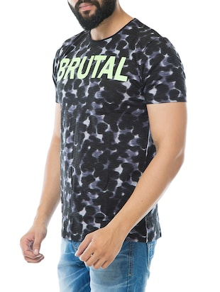 black cotton all over print t-shirt - 15495640 - Standard Image - 2