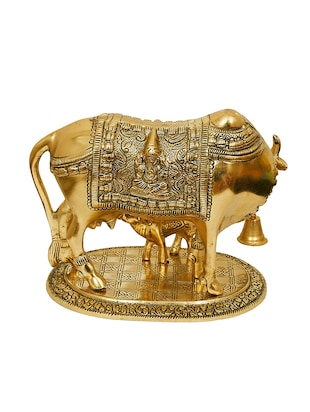 Large Gold Cow And Calf Metal Statue - 15496437 - Standard Image - 2