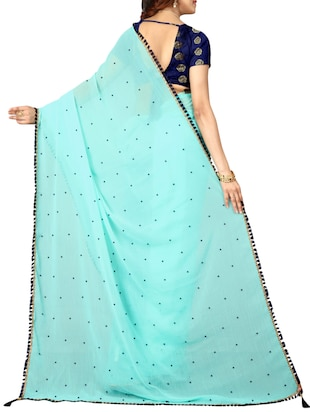 Border embroidered saree with blouse - 15496500 - Standard Image - 2