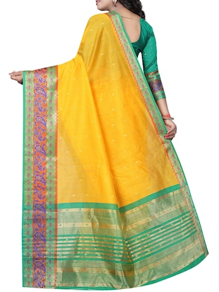 contrast zari border banarasi saree with blouse - 15496856 - Standard Image - 2