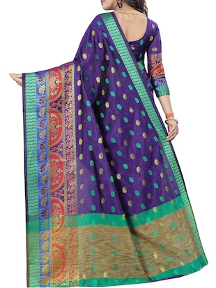 conversational zari motif banarasi saree with blouse - 15496869 - Standard Image - 2