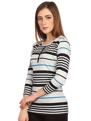 round neck button detail striped tee - 15497107 - Standard Image - 2