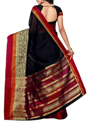 Disty floral bordered maheshwari saree with blouse - 15497528 - Standard Image - 2