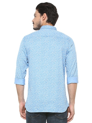 blue cotton casual shirt - 15497738 - Standard Image - 2