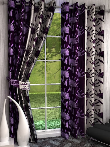Set of 8 Polyester Long Door Curtains - 15498463 - Standard Image - 1