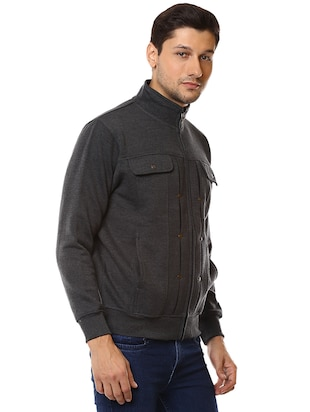 grey cotton casual jacket - 15498698 - Standard Image - 2