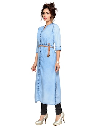Denim straight kurta with belt - 15500072 - Standard Image - 2