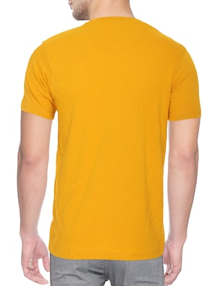 yellow cotton blend chest print tshirt - 15500127 - Standard Image - 2