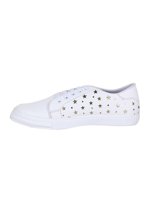 white lace-up sneakers - 15500160 - Standard Image - 2
