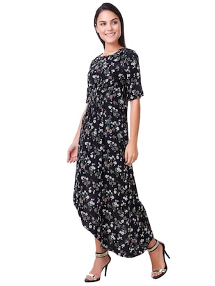 smocked printed asymmetric dress - 15502249 - Standard Image - 2
