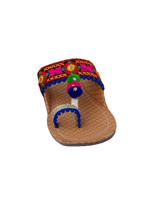 multi colored one toe kolhapuris - 15502349 - Standard Image - 2