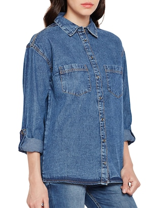 pocket patch denim shirt - 15502697 - Standard Image - 2