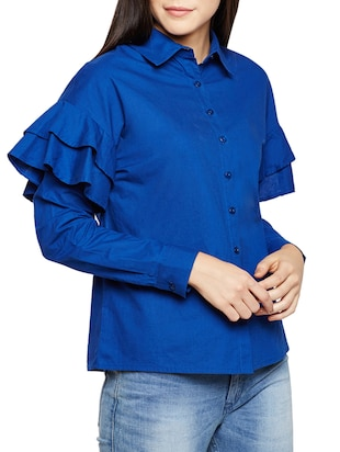 ruffle detail sleeved shirt - 15502699 - Standard Image - 2