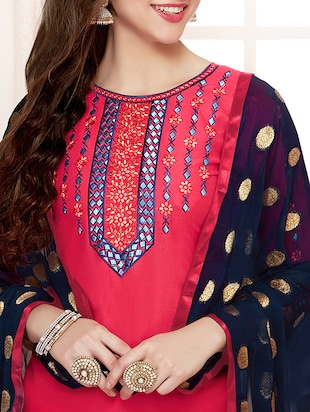 Embroidered unstitched patiyala suit - 15503046 - Standard Image - 2